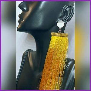 🏷 🆕 Steve Madden Mustard Tassel Thread Earrings